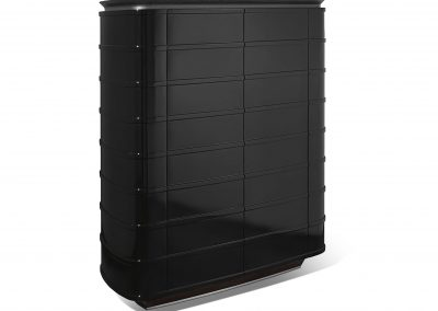 Bar Formed Cabinet Design In Italian Black.
