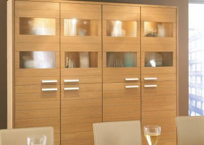 Bespoke Horizon Light Oak Commission Dining Storage.