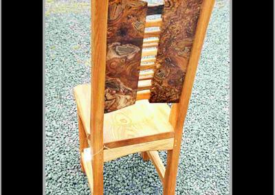 Burr Elm & Ash Wood Plate Chair in Yard.