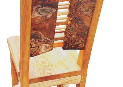 Burr Elm & Ash Wood Plate Chair Close Up Image.