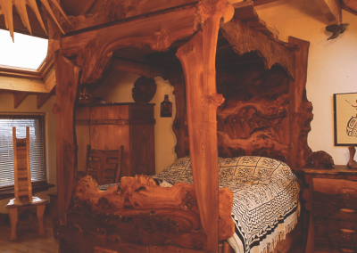 Limitied Addition Canopy Bed in Red Burr Elm.