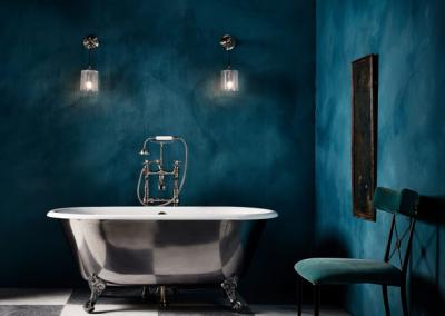 Cast Iron Bath With Blue Decor.