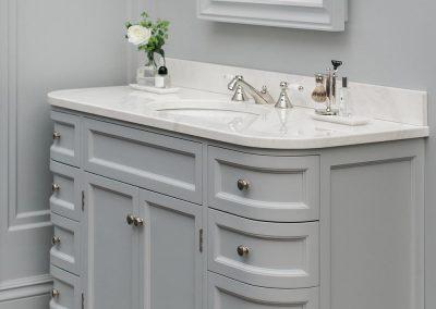 Credenza Vanity Suite In Mild Grey.