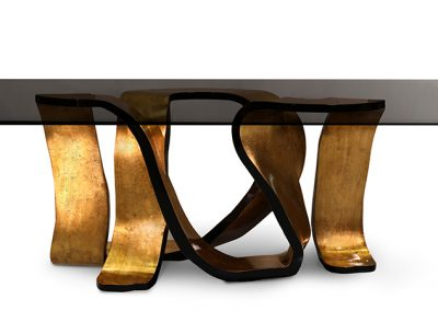 Dinning Table With Seaweed Gold Colour Finish.