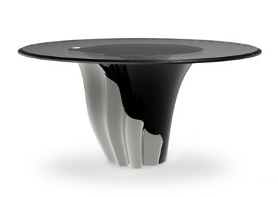 Dinning Table in Ice & Black Glass.