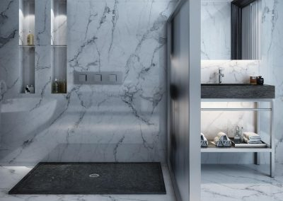 Grey Limestone Wet Room Shower Design.