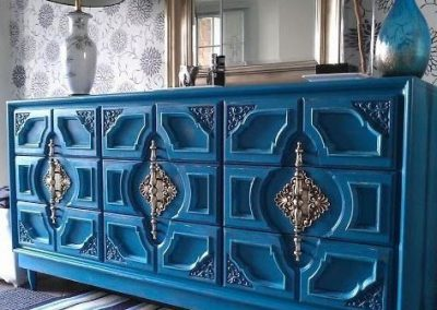 teal distressed furniture Lovely Annie Sloan custom color called Peacock Finished in 2 coats AS