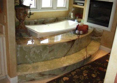 Onyx, Marble & Travetine Bathroom.