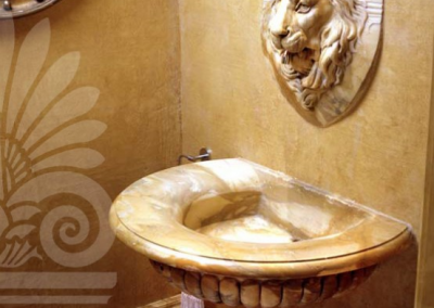 Sienna Marble Basin With Lion Head.