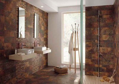 Step In Shower With Rustic Bathroom Tile Finish.