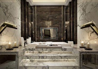 Sunken Stepped Marble Bathroom Suite.