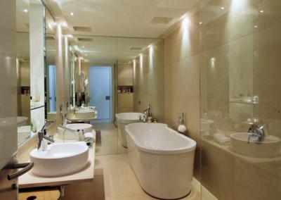 Bathroom In White, Stone Granite & Glass.