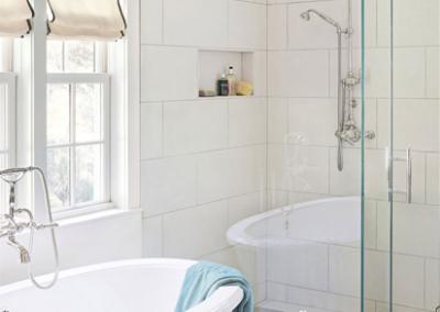 Glass & Light Tile Bathroom With Porcelain.