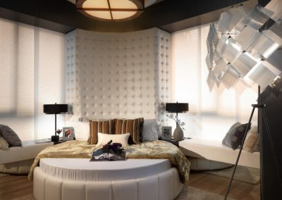 Circular Bedroom Design With Light Fabric & Finishes.