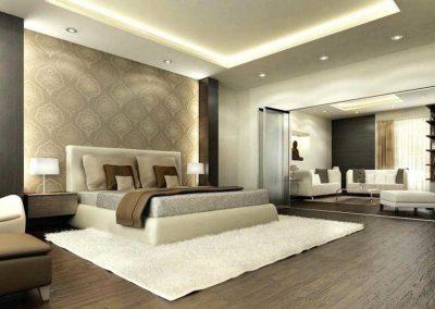Contemporary Bedroom & Lounging Design in Beige & Cream.