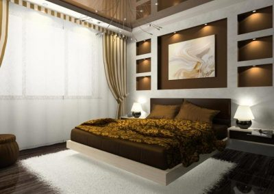 Decor Bedroom With Brown & Selective Lighting Features.