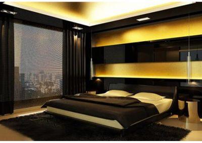 Hotel Or Home Bedroom In Bee Stripe Finish.