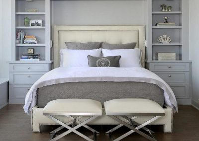 Taupe Painted Panelled Bedroom With Soft Matching Fabrics.