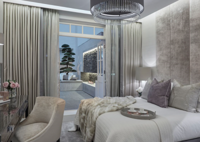 Upholstered Contemporary Bedroom In Seasoned Light Grey.