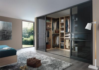 Walk in Dressing Gallery With Sliding Aluminium Glazed Doors.