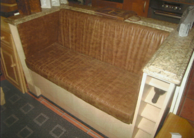 Showroom Centre Seating In Maple, With Bison Brown Upholstery & Granite Finish.
