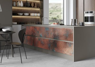 Patinated Copper Kitchen Finishes.